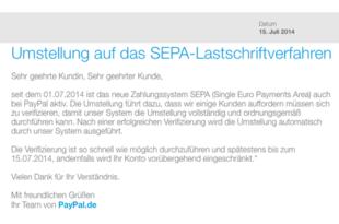Email im Namen von Paypal