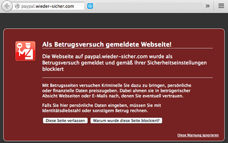Warnhinweis betrügerische Webseite