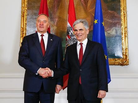 Photo of Bundeskanzler Faymann empfängt lettischen Staatspräsidenten Andris Berzins