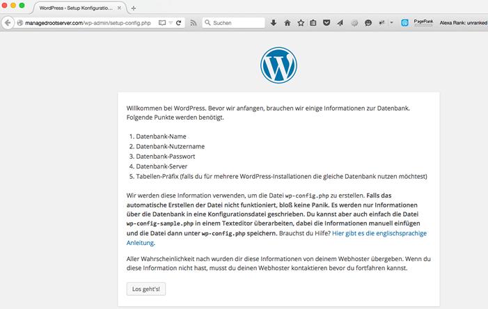 WordPress Datenbank Informationen - WordPress Website erstellen - Schritt für Schritt