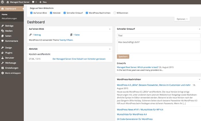 WordPress Optionen