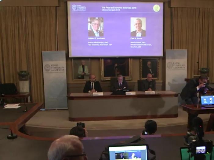 Wirtschaftsnobelpreis geht an US Ökonomen Nordhaus und Romer - Wirtschaftsnobelpreis 2018 geht an US-Ökonomen Nordhaus und Romer